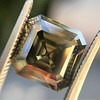 4.57ct Fancy Dark Greenish Yellow Brown Asscher Cut Diamond GIA 21