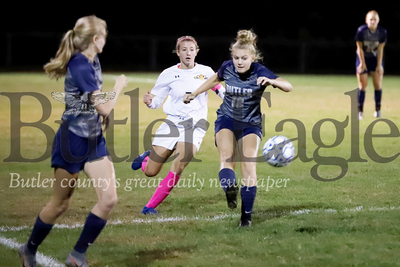Butler junior Stephanie Adkisson clears the ball up field during the Golden Tornado's 3-0 home loss to North Allegheny Wednesday night. Seb Foltz/Butler Eagle
