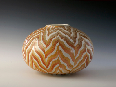 "Chevron Vase 7""x 10""x 10"" Cone 10 Wood Fired Porcelain"