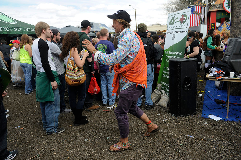 . Paul Paplito dances to a DJ during the High Times US Cannabis Cup at the Exdo Center in Denver on Saturday, April 20, 2013. Seth A. McConnell, The Denver Post