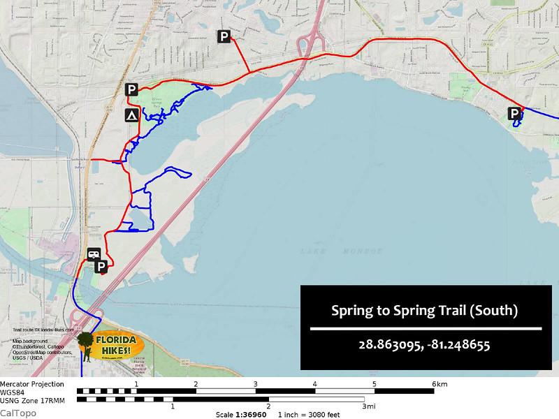Spring to Spring Trail Map Lake Monroe to Green Springs