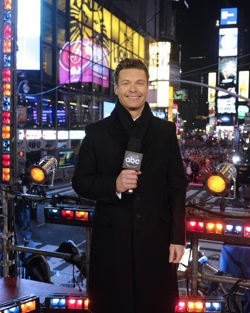 "Description of . DICK CLARK\'S NEW YEAR\'S ROCKIN\' EVE WITH RYAN SEACREST 2013 - Beginning at 10:00 p.m., ET, Ryan Seacrest will host festivities live from Times Square in New York City, ""Dick Clark\'s New Year�s Rockin\' Eve with Ryan Seacrest 2013,�\""  on MONDAY, DECEMBER 31 on the ABC Television Network.  (ABC/ IDA MAE ASTUTE)      RYAN SEACREST - file photo"