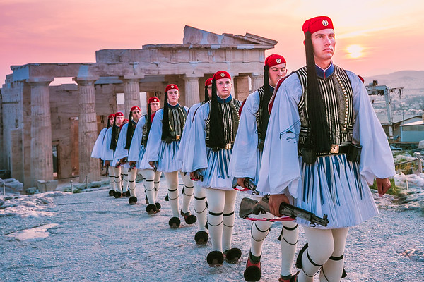 2017 Greek Presidential Guard at the Acropolis Sunset Athens Greece