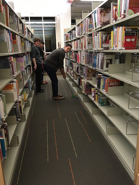 Mini golf in the stacks
