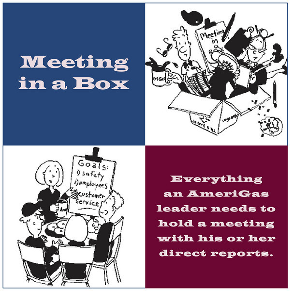 Label design for a manager's employee communication toolkit. We conceptualized the Meeting in a Box initiative, created support materials including videos, microwave popcorn packs, manager's talking points, etc., These toolkits were sent out to more than 500 locations on a periodic basis.