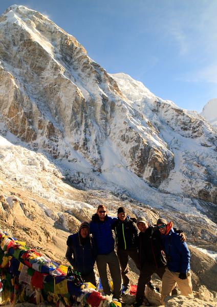 Fura Sherpa, Pat, Kenja Sherpa, Nima Sherpa, Jeremy in front of Pumori