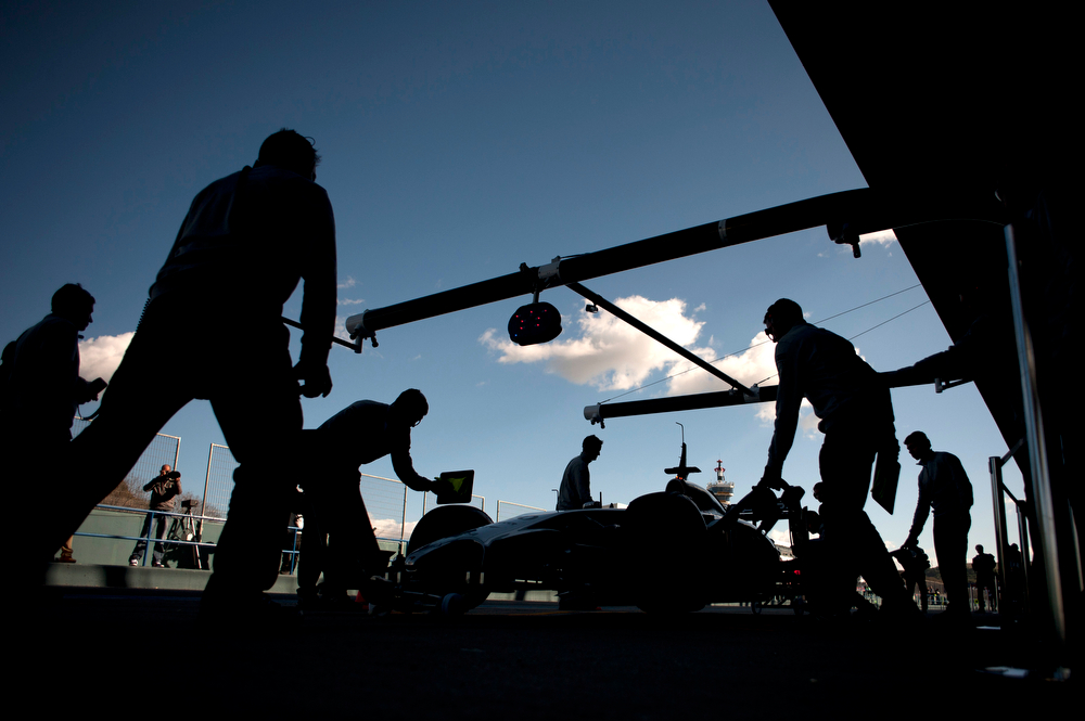 . McLaren Mercedes\' Danish driver  Kevin Magnussen stops in the pits during the Formula One pre-season test days at Jerez racetrack in Jerez on January 30, 2014. (Jorge Guerrero/AFP/Getty Images)