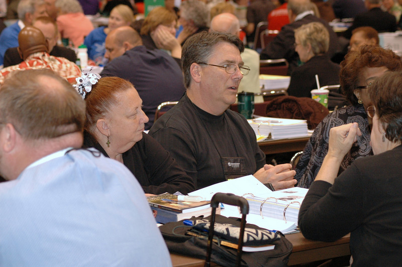 Voting members from the Delaware-Maryland Synod are asked to gather in small groups to share their witness about this assembly: signs of hope and signs of paralysis.