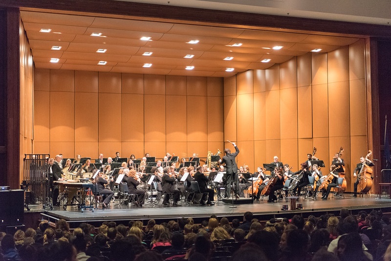 040616   Wesley Bunnell | Staff  1,600 5th grade students from New Britain, Berlin & Plainville attended a symphony at CCSU on April 6th. The New Britain Symphony Orchestra performed music written by American composers.