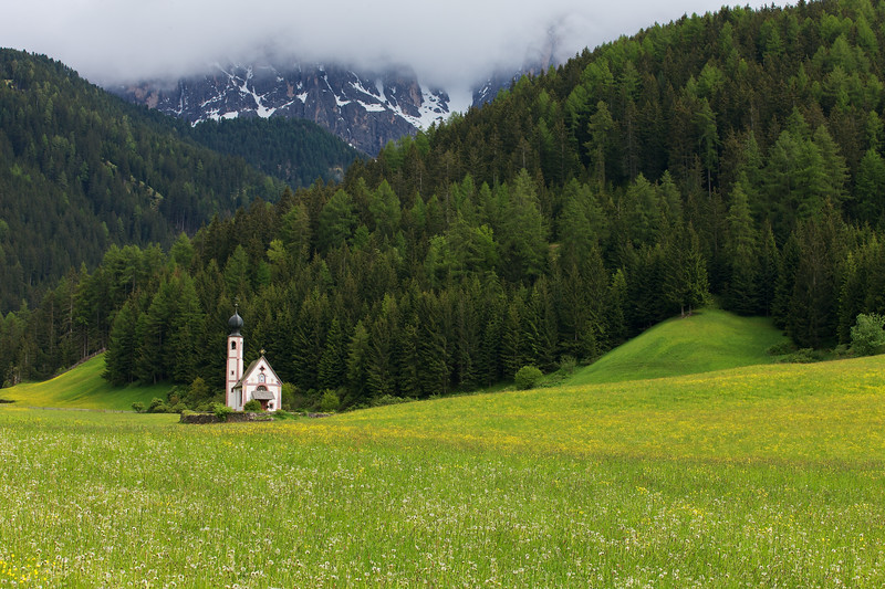 San Giovanni Church, Forest, Dolomites all combine to create a harmonious beauty in the Italian Alps.   The Val di Funes is full of incredible beauty.