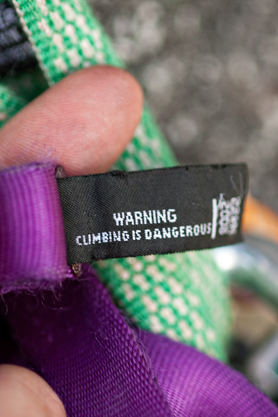 August 14, 2012. Day 221.  Climbing on John's birthday! Sometime I noticed the sling I use as a personal anchoring device came with a note.  Hatcher Pass, Alaska