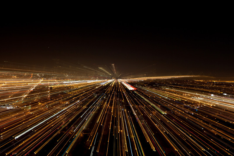 night shot of san Francisco, zooming through the long exposure.