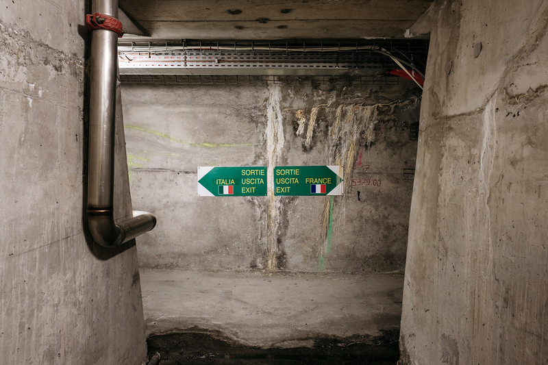 Inside the underground evacuation tunnel, from emergency shelter number 17, indications of directions - Samuel Zeller for the New York Times