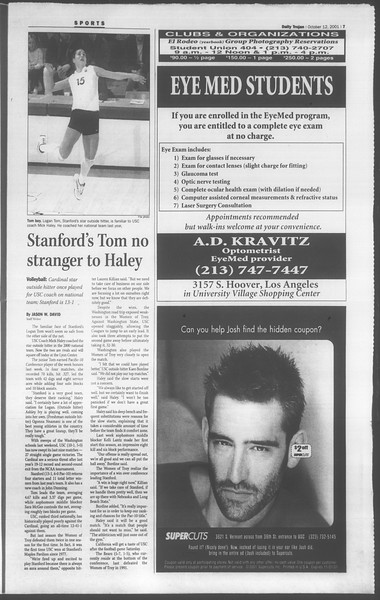 Daily Trojan, Vol. 144, No. 32, October 12, 2001