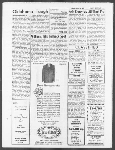 Daily Trojan, Vol. 56, No. 1, September 15, 1964