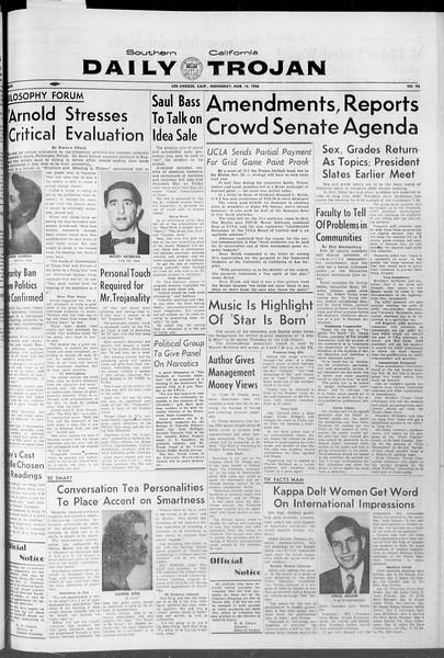 Daily Trojan, Vol. 47, No. 95, March 14, 1956