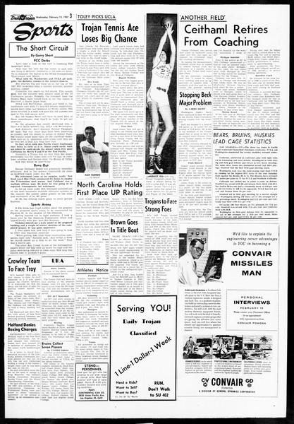 Daily Trojan, Vol. 48, No. 72, February 13, 1957