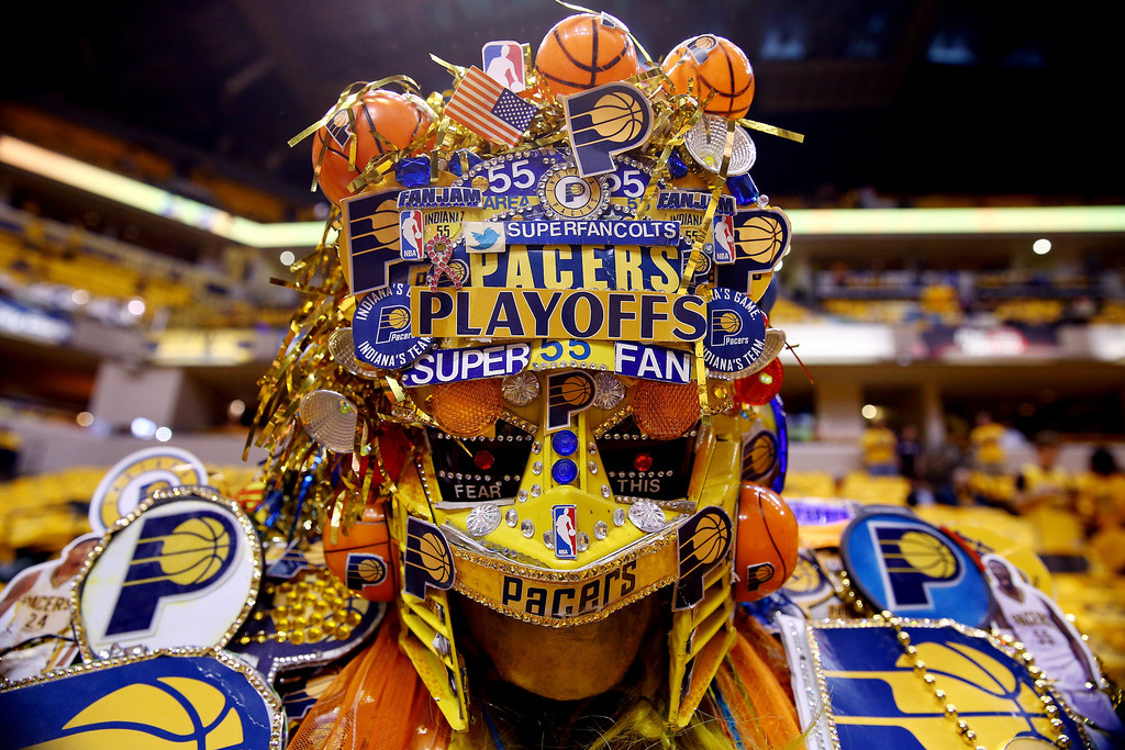 . A fan poses for a photo prior to Game Two of the Eastern Conference Finals of the 2014 NBA Playoffs between the Indiana Pacers and the Miami Heat at at Bankers Life Fieldhouse on May 20, 2014 in Indianapolis, Indiana.   (Photo by Andy Lyons/Getty Images)