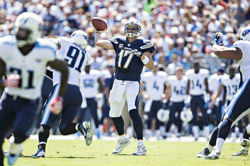 . Philip Rivers #17 of the San Diego Chargers throws a pass against the Tennessee Titans at LP Field on September 22, 2013 in Nashville, Tennessee.  The Titans defeated the Chargers 20-17.  (Photo by Wesley Hitt/Getty Images)
