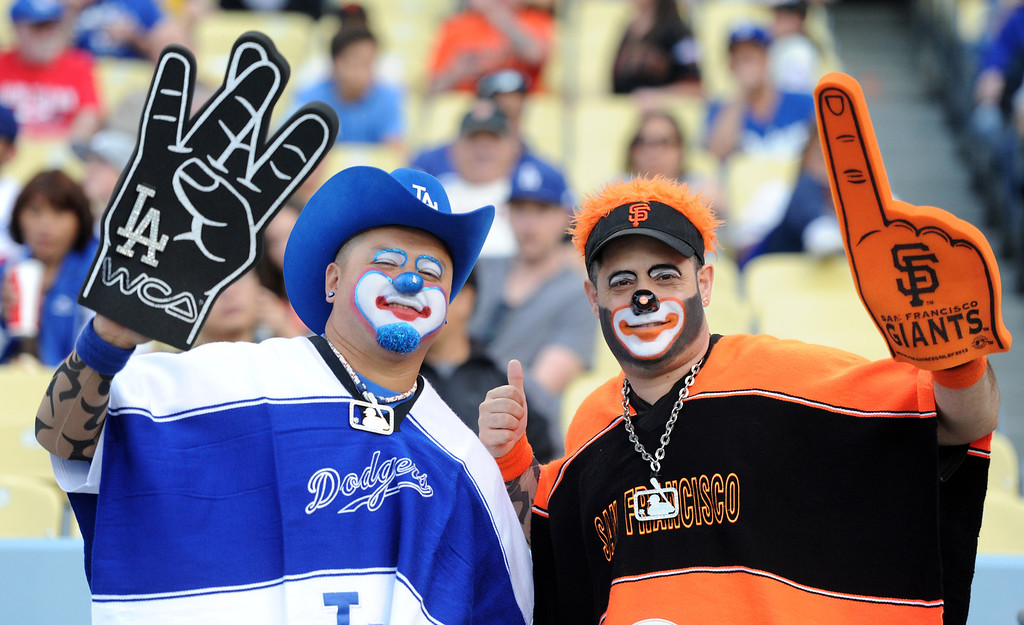 . San Francisco Giants and Los Angeles Dodgers fans prior to a baseball game on Wednesday, April 3, 2013 in Los Angeles. 