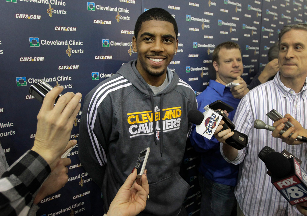 . With their season ended, Cleveland Cavaliers Kyrie irving talks to the media at the team\'s practice facility in Independence, Ohio, on Friday, April 27, 2012.  (AP Photo/Amy Sancetta)