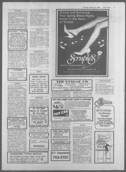 Daily Trojan, Vol. 106, No. 51, March 24, 1988