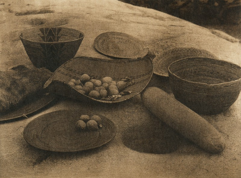 Yokuts kitchen utensils and milling-stone (The North American Indian, v. XIV. Norwood, MA, The Plimpton Press, 1924)