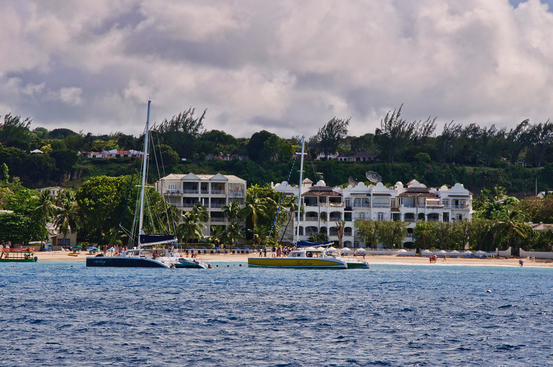 The coastline of Barbados where many sailboats drop anchor for snorkeling.
