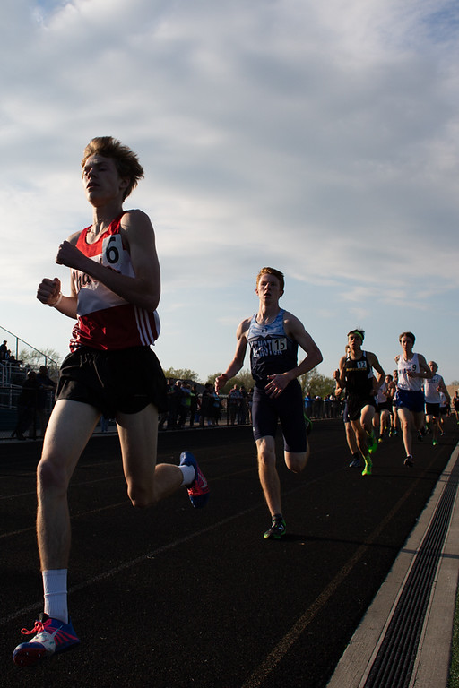 . Nate Kawalec (left) of Chardon places first over Kenston\'s Jakob McConnell in the 1600 meter run during the WRC Track meet at Mayfield High School on May 10, 2018.