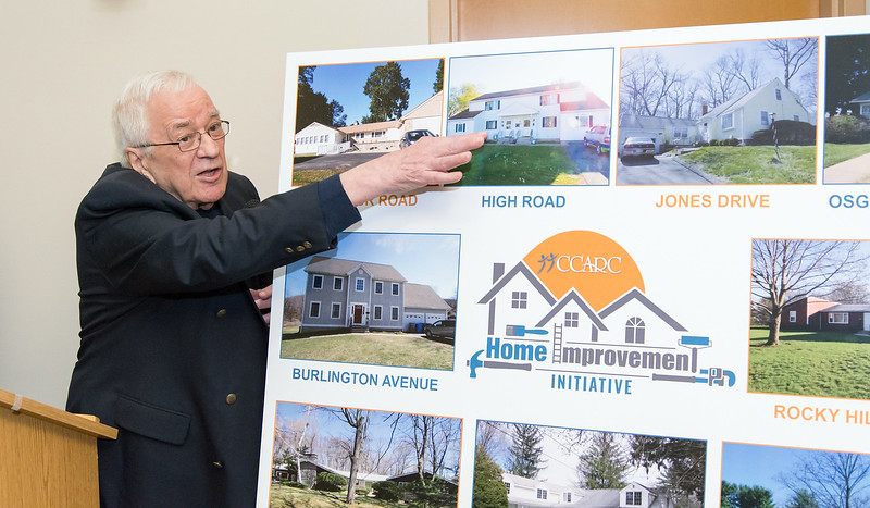 02/28/19  Wesley Bunnell | Staff  CCARC held a conference on Thursday to announce their Home Improvement Initiative which is funded by donations from the American Savings Foundation, the Robert C. Vance Foundation and others.  Impact Team Member Richard Judd points to a group home as he discusses the needs of the homes.