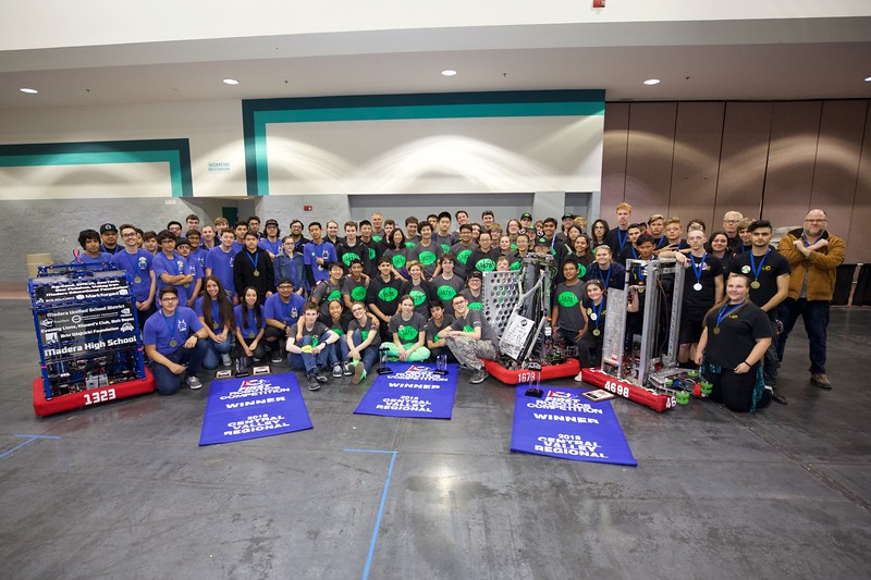 Winners of 2018 CVR - Alliance 1: Teams 1678 Citrus Circuits, 1323 MadTown Robotics, and 4928 Rio Americano Robotics