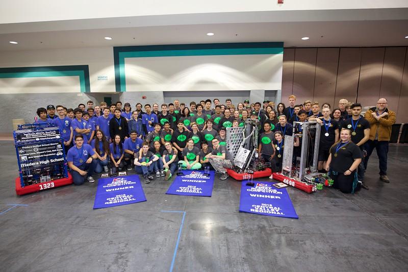 Winners of 2018 CVR - Alliance 1: Teams 1678 Citrus Circuits, 1323 MadTown Robotics, and 4928 Rio Americano Robotics