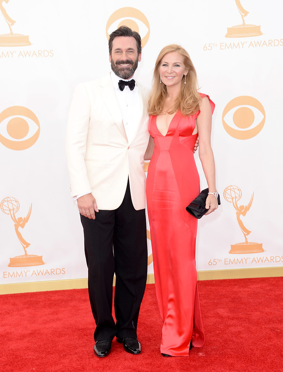 . Actors Jon Hamm and Jennifer Westfeldt arrive at the 65th Annual Primetime Emmy Awards held at Nokia Theatre L.A. Live on September 22, 2013 in Los Angeles, California.  (Photo by Jason Merritt/Getty Images)