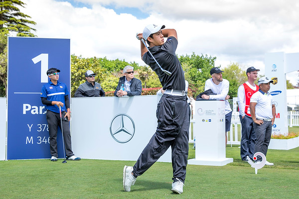 Denzel Ierimia from New Zealand hitting off the 1st tee on Day 1 of competition in the Asia-Pacific Amateur Championship tournament 2017 held at Royal Wellington Golf Club, in Heretaunga, Upper Hutt, New Zealand from 26 - 29 October 2017. Copyright John Mathews 2017.   www.megasportmedia.co.nz