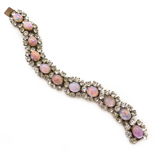 Vintage Mid Century Pink Opalescent Glass Cabochon Floral Bracelet Sold Out