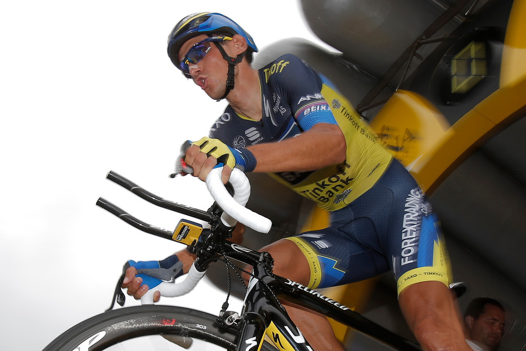 . Roman Kreuziger of the Czech Republic takes the start of the seventeenth stage of the Tour de France cycling race an individual time trial over 32 kilometers (20 miles) with start in Embrun and finish in Chorges, France, Wednesday July 17, 2013. (AP Photo/Christophe Ena)