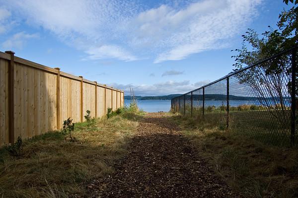 beach through fences