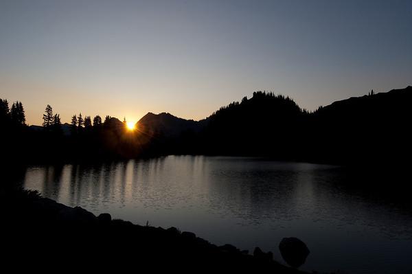 setting sun at Lunch Lake