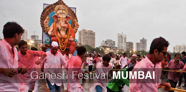 Ganesh festival visarjan day in Mumbai, India